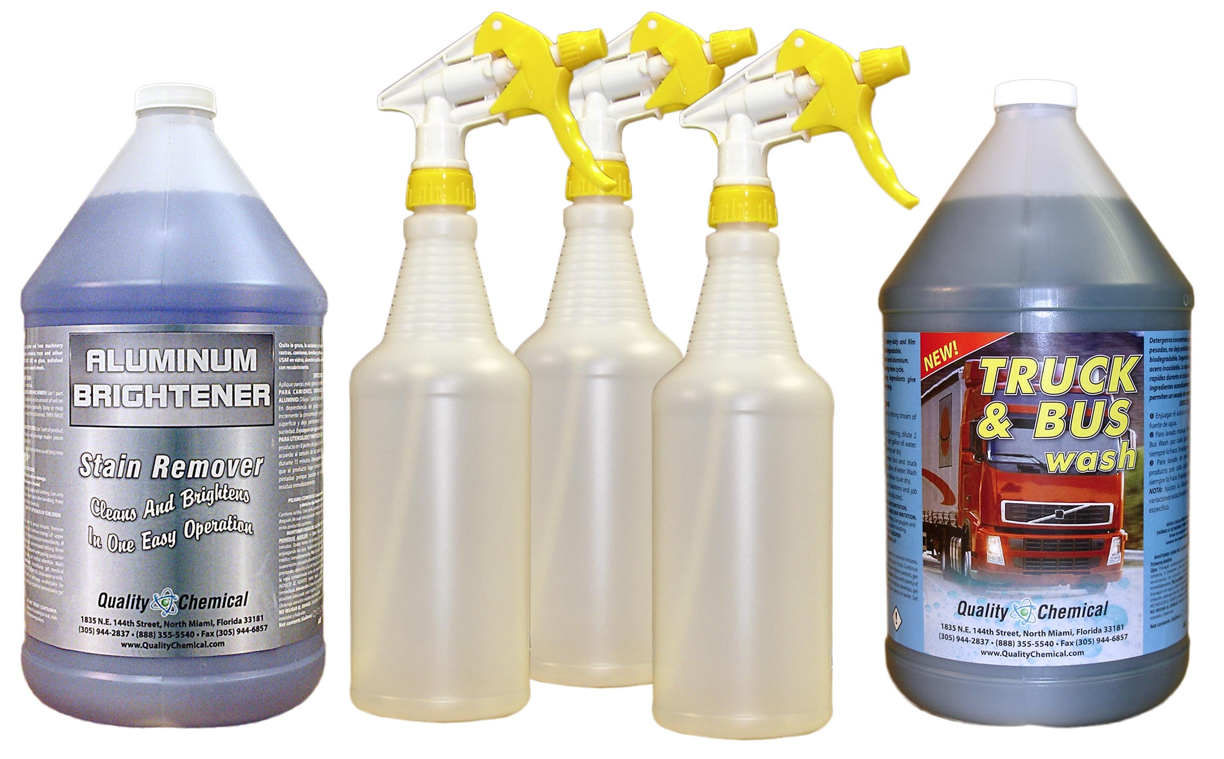 Truck Wash and Aluminum Cleaner with Spray Bottles