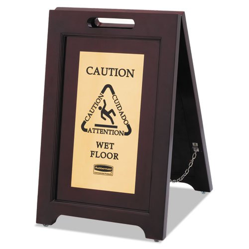 Wet Floor Sign - wood & brass